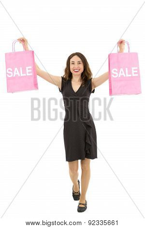 Shopping Woman Holding Up Sale Shopping Bags