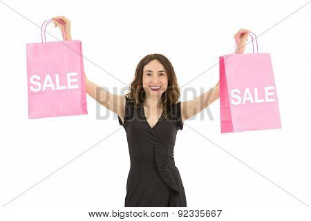 Woman Showing Sale Shopping Bags