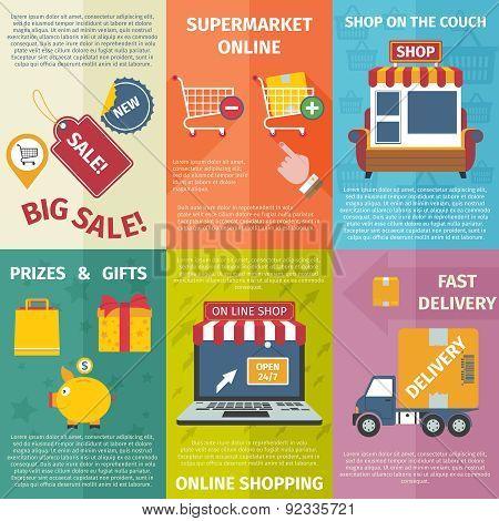 Shopping mini posters set