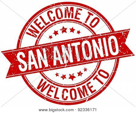 Welcome To San Antonio Red Round Ribbon Stamp