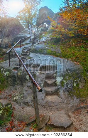 Autumn Forest In The Mountains And Stairs In Rock