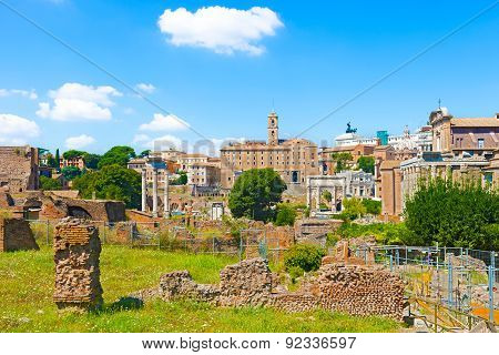 Temples At The Foot Of Capitoline Hill In Rome Italy