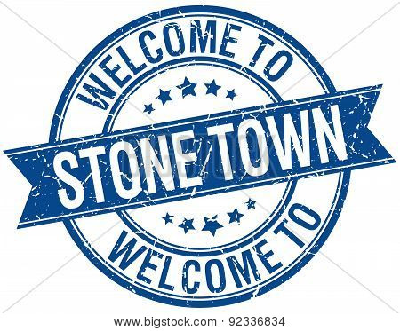 Welcome To Stone Town Blue Round Ribbon Stamp