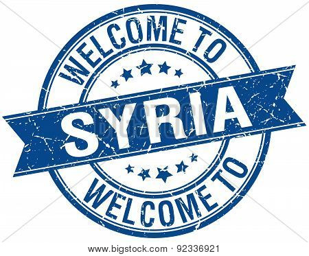 Welcome To Syria Blue Round Ribbon Stamp