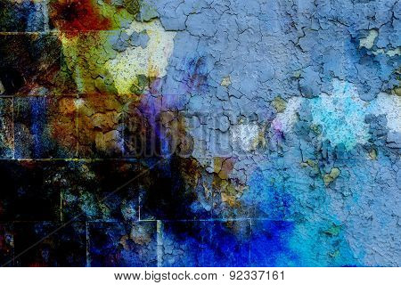 Rock Wall Texture. With Crackle Background. Color Effect