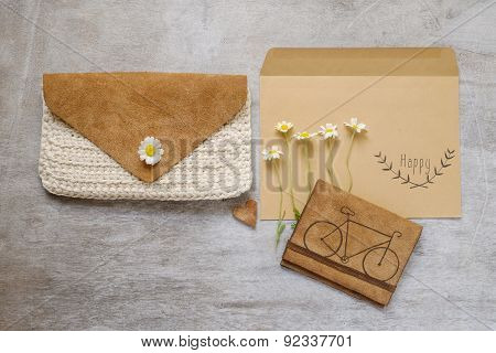 Bag Content Accessories Collection In Beige Color Theme With Bag, Paper Tag, Chamomile