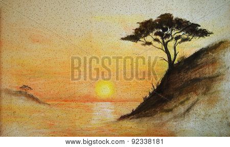 Painting On Wall. painting Sunset, Sea And Tree, Wallpaper Landscape
