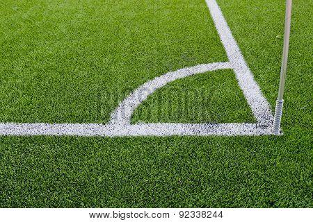 Corner Boundary Markings Of Grass Soccer Field