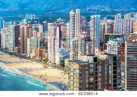 Aerial view of summer resort Benidorm, Spain