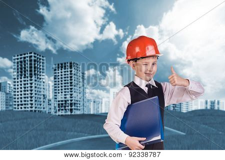 The boy in hardhat
