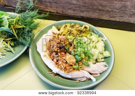 Rice Noodles With Spicy Pork Sauce, Northern Of Thailand Food