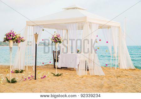 Beautiful place for romantic dinner on the beach. Samui island, Thailand.