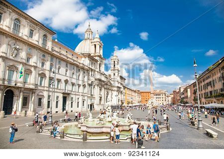 ROME, ITALY - SEP 20, 2014: Fontana del Moro (Moor Fountain) at the Piazza Navona. Piazza Navona is one of the main tourist attractions of Rome. Italy.