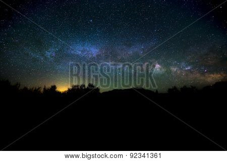 Milky Way Rising Over The Canyon Utah Night Landscape