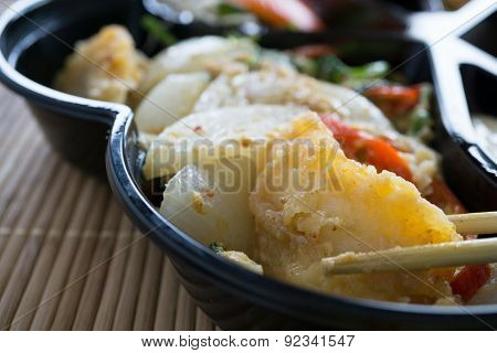 Closeup In Stir Fried Curried With Fish