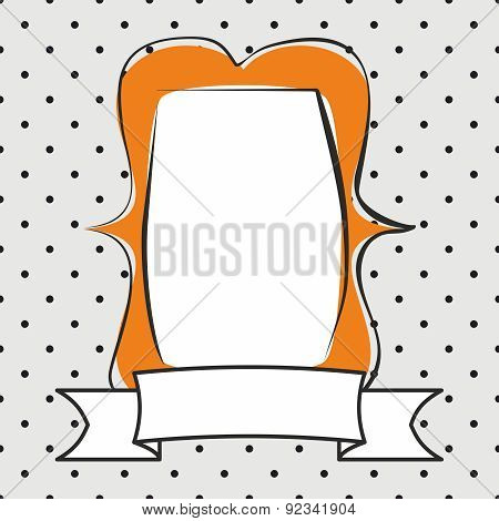 Vector orange photo frame on polka dots grey background