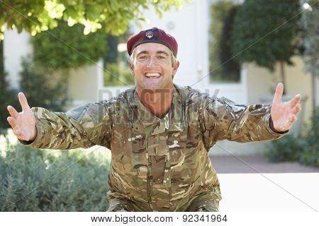 Soldier Returning Home Extending Arms In Greeting