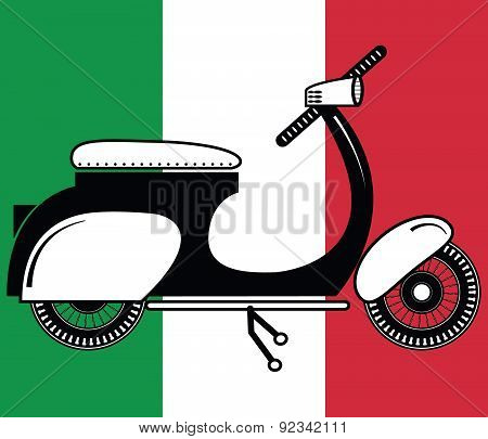 Vintage scooter type 2 on Italian flag background