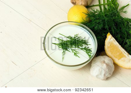 Dip Of Yogurt, Dill And Garlic