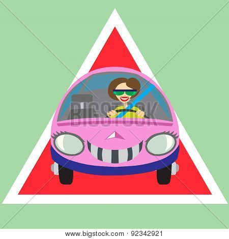 Cheerful Woman Driving Car