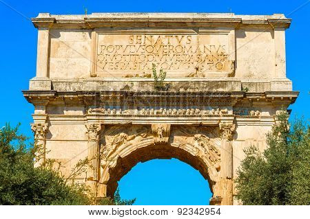 The Arch Of Titus In Rome Italy