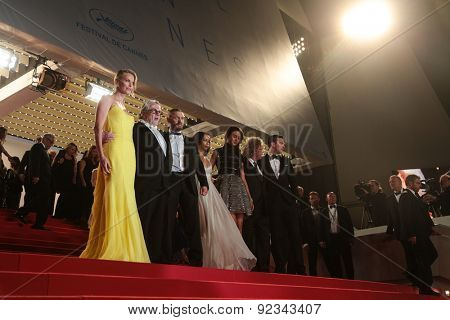Charlize Theron, Tom Hardy and film team attend the 'Mad Max: Fury Road' premiere during the 68th annual Cannes Film Festival on May 14, 2015 in Cannes, France.