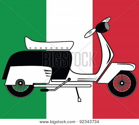Vintage scooter type 1 on italian flag background