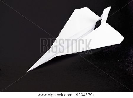 Paper Airplane On Black