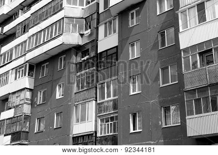 Russian Building Abstract And Windows In Black And White