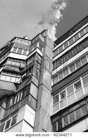 Russian Building Abstract And Sky In Black And White