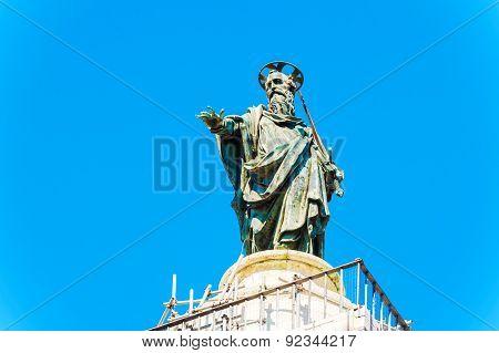 Column Of Marcus Aurelius At Piazza Colonna In Rome, Italy.