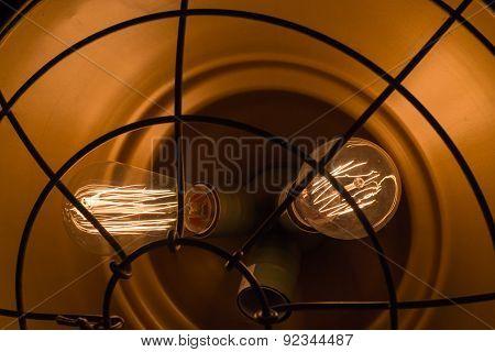 Two Burning Electric Bulbs Closeup