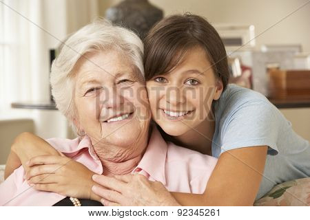 Teenage Granddaughter Visiting Grandmother At Home