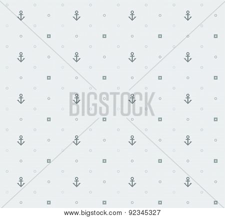 Vector seamless nautical bright pattern with dots and anchors