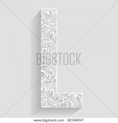 Letter L. Vector Floral Invitation cards Decorative Font