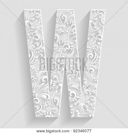 Letter W. Vector Floral Invitation cards Decorative Font