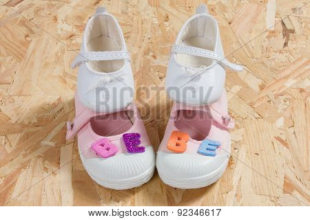 Baby Card, Concept Of New Born Baby With Shoes