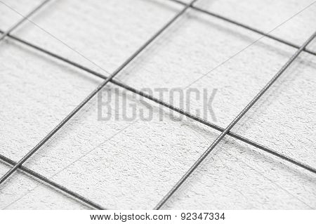 Rebar Grid And Concrete, Abstract Background