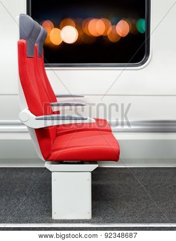 Passenger Chairs In A Modern Train