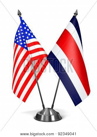USA and Costa Rica - Miniature Flags.