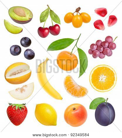 Berries And Fruits On White Background