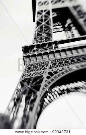 Blurred Shot Of The Eiffel Tower In Paris, France, Selective Focus On Details