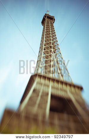 Blurred Image Of The Eiffel Tower In Paris, France, Selective Focus On Details