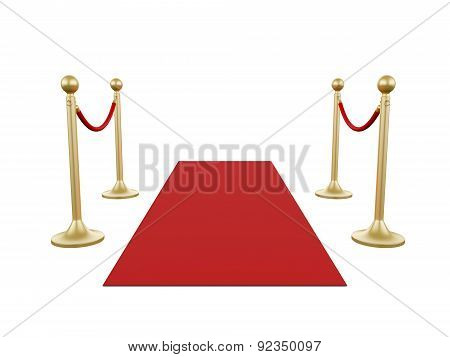Golden Stanchion And Red Carpet