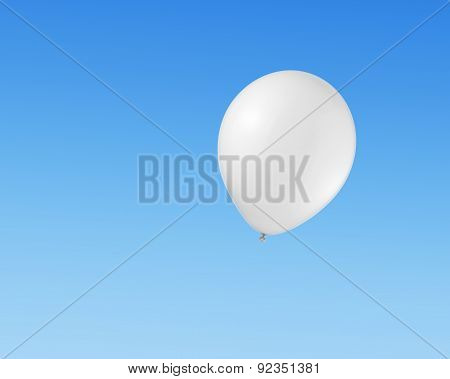 White Balloon Flying In The Sky