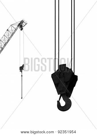 Hook Of A Hoisting Crane, Silhouette On A White Background