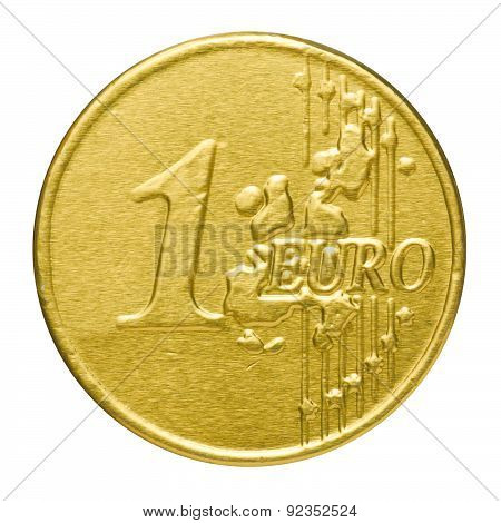 Chocolate Euro In A Wrapper On A White Background
