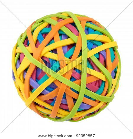 Rubber Band Ball On A White Background
