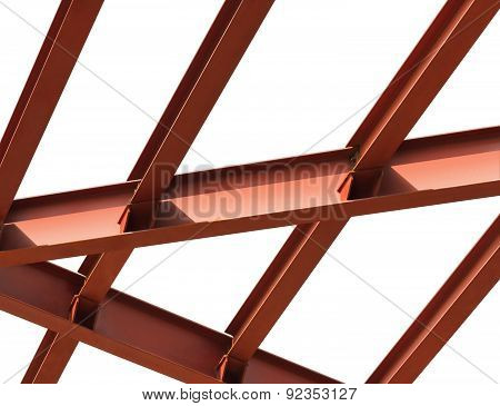Steel Beams On A White Background, Fragment Construction Site