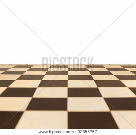 Chessboard In Perspective With A Blank Area For Text